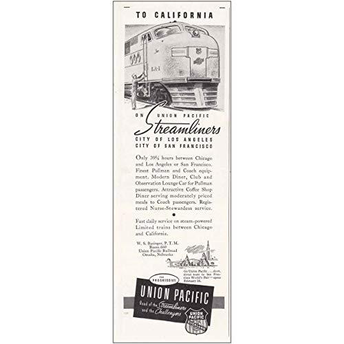 RelicPaper 1939 Union Pacific Railroad: Hours Between Chicago and Los, Union Pacific Railroad Print Ad