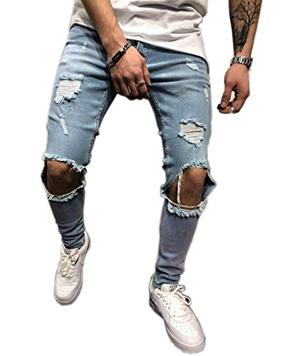 - Men's Ripped Skinny Denim Jeans Slim Fit Stretch Pencil Pants Distressed Rip Trousers Stylish Straight Leg Demin Pants (Blue, S)