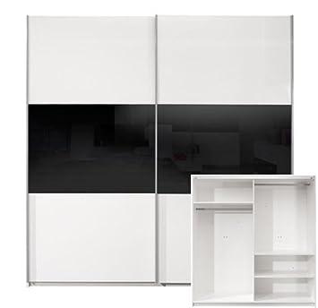 Kleiderschrank weiß schwarz hochglanz  Schwebetürenschrank Kleiderschrank weiss schwarz Hochglanz 250 cm ...