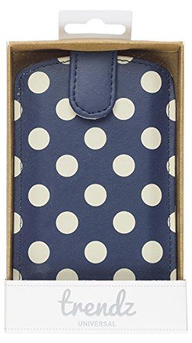 Trendz Hülle Schutzhülle Universal Slip Pouch Cover mit Magnetverschluss Kompatibel mit Smartphones und MP3 Geräten - Blau/Weiß Polka Dot