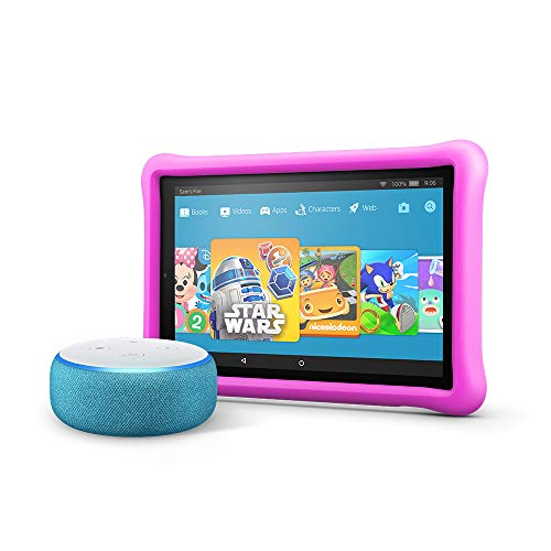 All-New Echo Dot Kids Edition, Blue with Fire HD 10 Kids Edition Tablet, Pink