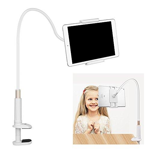 White Gooseneck (FUTESJ Gooseneck Tablet Stand,Clamp Mount Phone Holder Flexible Clip Lazy Arm Bracket for 10.5Inch iPad Pro/iPad/iPad mini 4/iPhone X/8/7/6s/Plus/5S/Samsung S8/S7/S6/Note Smartphone(White))