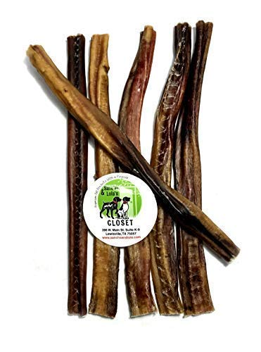 Sancho & Lolas 12-Inch Bully Sticks for Dogs Made in USA / 6-Count/Odor-Free/Charcuterie Style Rawhide-Free Beef Pizzle Dog Chews