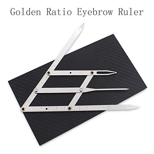 Eyebrow Ruler Caliper-Golden Ratio Microblading Calipers Ruler with Flexible Removable Reusable Stainless Steel Eyebrow Ruler Measure Tools ADshi