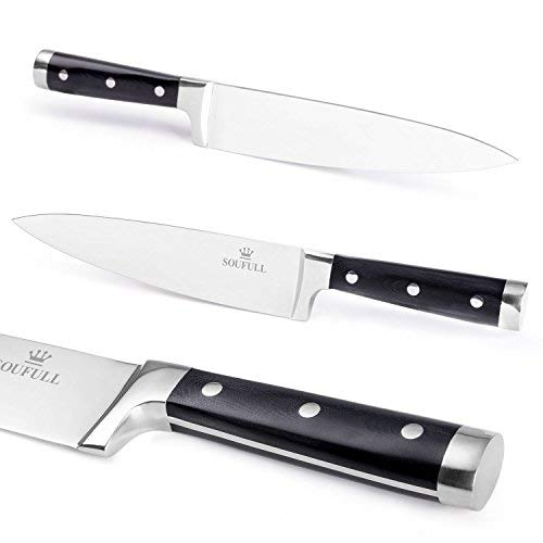 Japanese chef knife-Full Tang Unbroken Soufull kitchen knife -8 inch Gyutou knife-Ergonomic G10 Handle with Triple Riveted-Durable with Gift Box