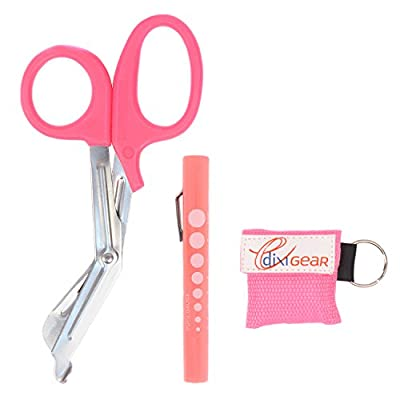 MediTac Pink Stainless Steel Bandage Sheers, Disposable Pink Pen Light, Pink CPR Keychain