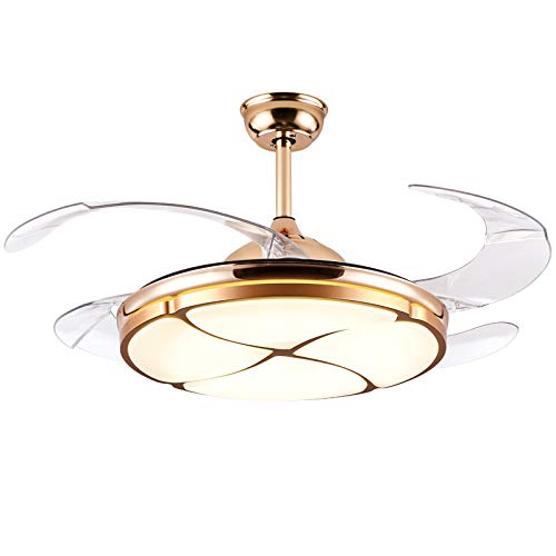 42 inch Modern Invisible Ceiling Fans LED Chandelier, Adjustable Three-Color Lighting and Three-Speed Ceiling Fan Light, For Room Bedroom Chandelier with Remote Control Gold
