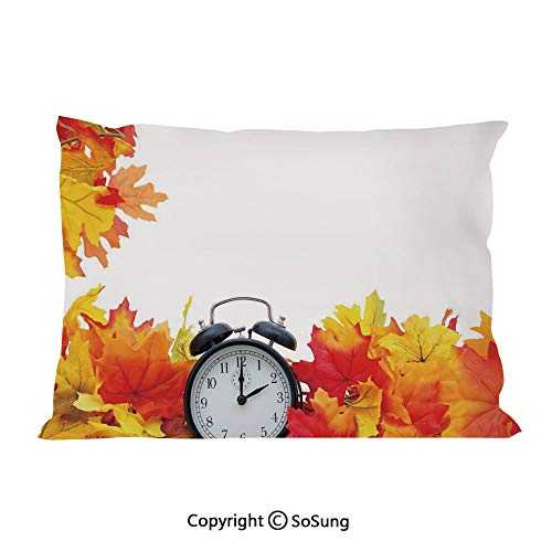 Clock Decor Bed Pillow Case/Shams Set of 2,Autumn Leaves and an Alarm Clock Fall Season Theme Romantic Digital Print King Size Without Insert (2 Pack Pillowcase 36