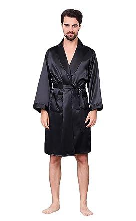 f533fe313f Oeak Men s Shawl Collar Kimono Bath Robe Silk Satin Kimono Sleepwear Black  No Shorts ...