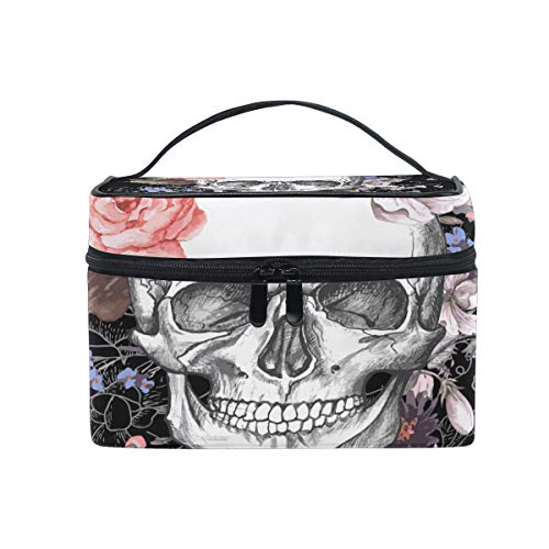 Travel Cosmetic Bag Flower Halloween Sugar Skull Toiletry Makeup Bag Pouch Tote Case Organizer Storage For Women Girls ()