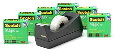 Scotch Brand Magic Tape with Black Dispenser, Matte Finish, The Original, Designed for Office and Home Use, Great for Gift Wrapping, 3/4 x 1000 Inches, Boxed, 6 Rolls, 1 Dispenser