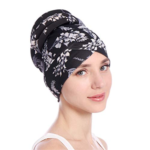 Toponly Islamic Muslim Hijab Turban Hat Headwrap Scarf Cover Chemo Cap Newly for Women Black