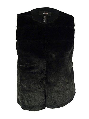 Style & Co. Women's Sleeveless Faux Fur Vest (M, Deep Black) by Style & Co.