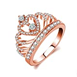 Rings Women Princess Crown Ring 18K Rose Gold Plated Tiny Cubic Zirconia Gift for Girl Women Christmas Wedding Engagement