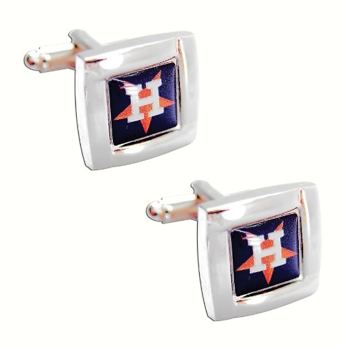 Houston Astros MLB Sports Fan Team Logo Square Engraved Design Mens Shirt Cufflinks Gift Box Set