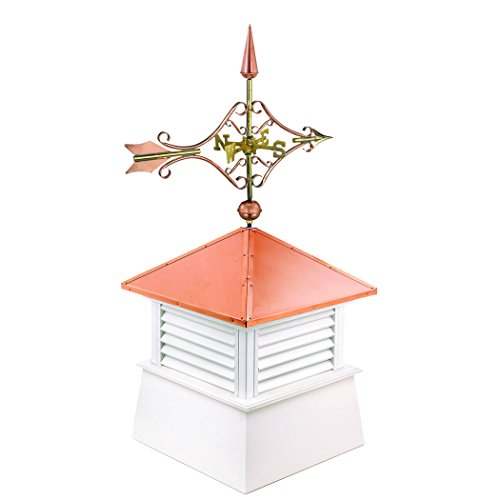 "Manchester Vinyl Cupola with Victorian Arrow Weathervane, Perfect Size for a Small Shed, 18"" square x 44"" high, Pure Copper Roof by Good Directions (Image #1)"