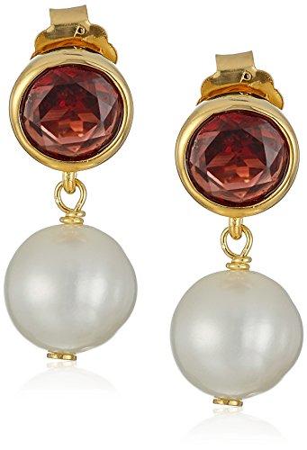 (18k Gold Plated Sterling Silver Genuine Garnet and Freshwater Cultured Pearl Drop Stud Birthstone Earrings)