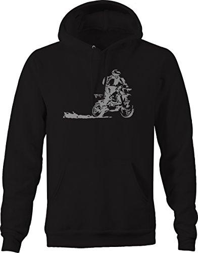 Bold Imprints Dirtbike Wheelie Racing Motocross Hooded Fleece Sweatshirt - XLarge Black