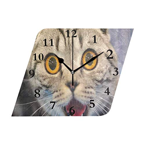 HU MOVR Wall Clock 3D Funny Cat Blurred Silent Non Ticking Decorative Diamond Digital Clocks for Home/Office/School Clock