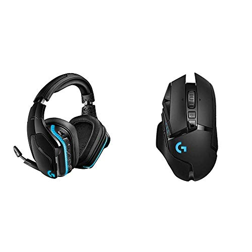 Logitech G935 Wireless DTS:X 7.1 Surround Sound LIGHTSYNC RGB PC Gaming Headset & G502 Lightspeed Wireless Gaming Mouse with Hero 16K Sensor, PowerPlay Compatible, Tunable Weights and Lightsync RGB