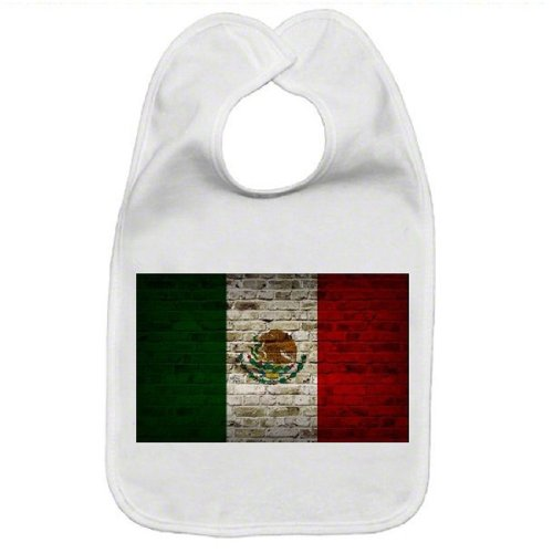 (Mexico Flag Brick Wall Design Baby Bib)