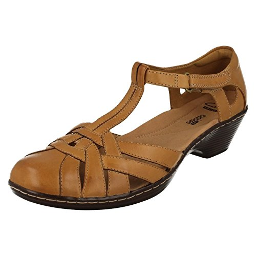 Ladies Clarks Closed Toe Low Heel Summer Shoes Wendy Loras - Tan Leather - UK Size 7D - EU Size 41 - US Size 9.5M