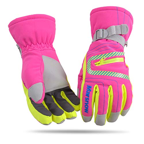 LoveKids Waterproof Warmest Winter Snow Gloves for Boys and Girls(808Rose-M)