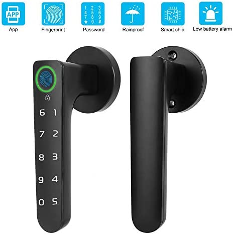 Bluetooth指紋キーレスエントリードアロック、デジタルスマートレバードアロックバイオメトリックタッチスクリーンキーパッドエントリードアロック、サポート指紋、パスワード、オフィスホームホテル用APP