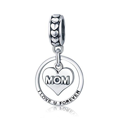 - Everbling Mom I Love You Forever Heart Enamel 925 Sterling Silver Bead Fits European Charm Bracelet