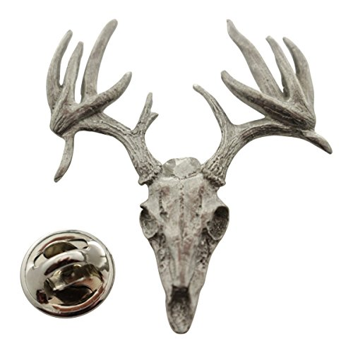 Sarah's Treats & Treasures 13 Point Drop Tine Skull Pin ~ Antiqued Pewter ~ Lapel Pin ()