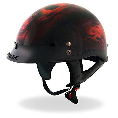 Hot Leathers DOT Approved Skull Helmet (Black, Large) (Helmets Dot Daytona)