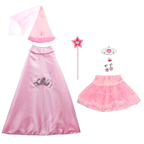 Halloween Costumes Ideas With Tutus (8 Pieces Girl's Halloween Princess Costume fedio Princess Dress up Set with Princess Cape, Tutu and Princess Cone Hat for Children Ages 3-6)