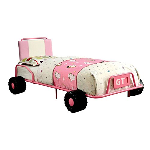 HOMES: Inside + Out Iohomes O'Connor Racing Metal Youth Bed, Twin, Pink by HOMES: Inside + Out