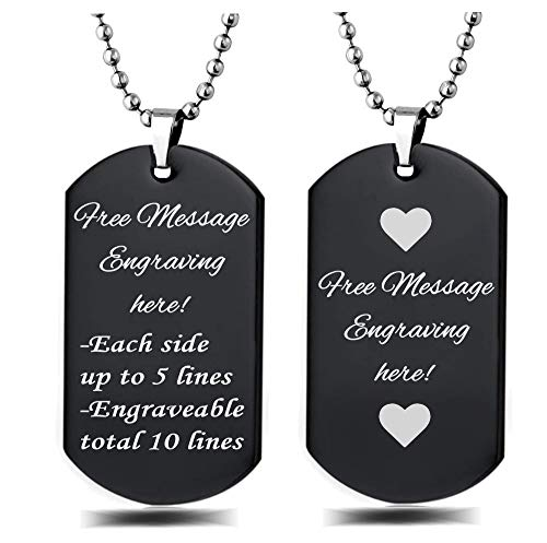 Interway Trading Personalized Regular Size Custom Message Engraved Stainless Steel Necklace Dog Tag Pendant with 24 inch Chain,Velvet Giftpouch and Keyring (Rectangular Black) ()