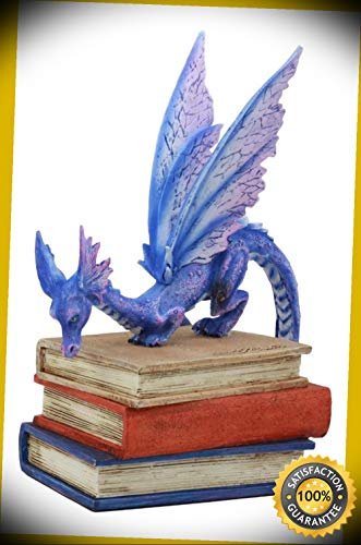(KARPP Amy Brown Fantasy Midnight Blue Book Dragon of Bibliography Figurine Magic Decor Perfect Indoor Collectible Figurines)