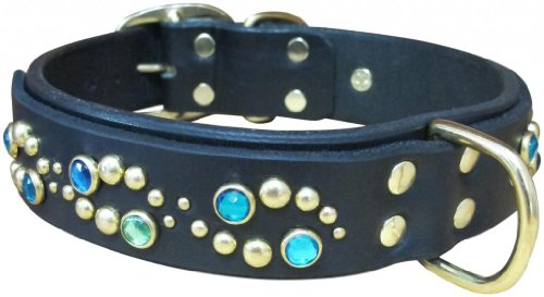 "Paco Collars - ""Glow Deluxe"" - Exclusive Handmade Leather Large Dog Collar - 1.5""Wide - Brass - Chocolate 20""-22"""