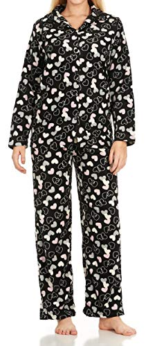 Unique Styles Womens 2 Piece Pajama Sets Micro Fleece V-Neck Top Drawstring Waistband Bottom (Black w/Buttons, Medium) ()