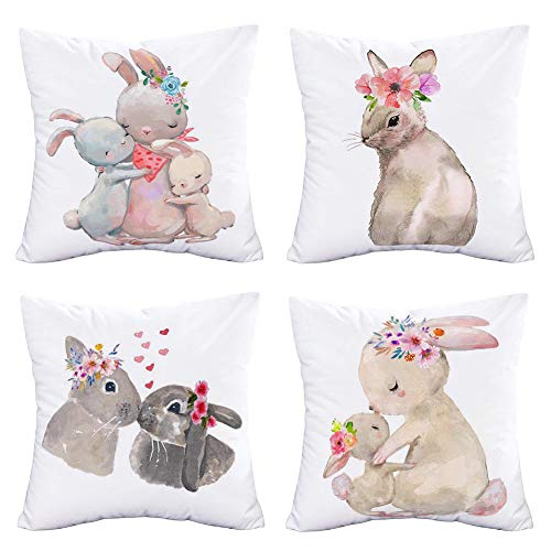 Easternproject Lovely Animals Throw Pillow Covers Super Soft Rabbit with Flower Wreath Pillow Cases Spring Seasonal Greeting Bunny Family Sweet Love Decorative Pillow Covers 18 X 18 Inch Set 4