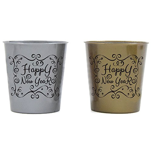 Shot Glasses For New Year - Durable Plastic - With Happy New Year Design - Silver & Gold - 24 Pieces - Perfect For Parties - Welcome NYE 2019 With Family & Friends]()