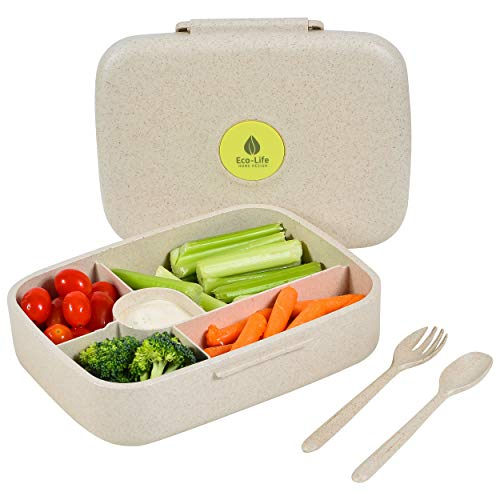 Bento Box - Eco Friendly, Leakproof Bento Lunch Box. Five Compartment, Wheat Fiber Bento Box for Kids and Adults. Microwave and Freezer Friendly Edo Box.