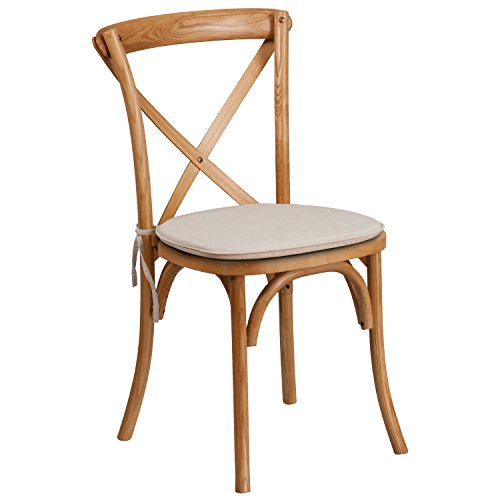 - Flash Furniture HERCULES Series Stackable Oak Wood Cross Back Chair with Cushion