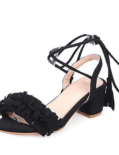 LFNLYX Zapatos de mujer-Tacón Robusto-Tacones / Punta Abierta / Tira en el Tobillo-Sandalias-Boda / Vestido / Fiesta y Noche-Semicuero-Negro / Black
