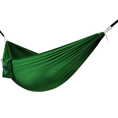 Yes4All Single Lightweight Camping Hammock with Strap & Carry Bag – Nylon Parachute Hammock/Lightweight Portable Hammock for Camping, Hiking (Green)