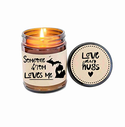 (Michigan Love Someone from Michigan Loves Me Long Distance Gift LDR Gift Miss You Heart in)