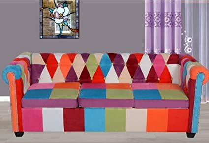 Amazon.com: Chesterfield 3 Seater Sofa Coloful Fabric ...