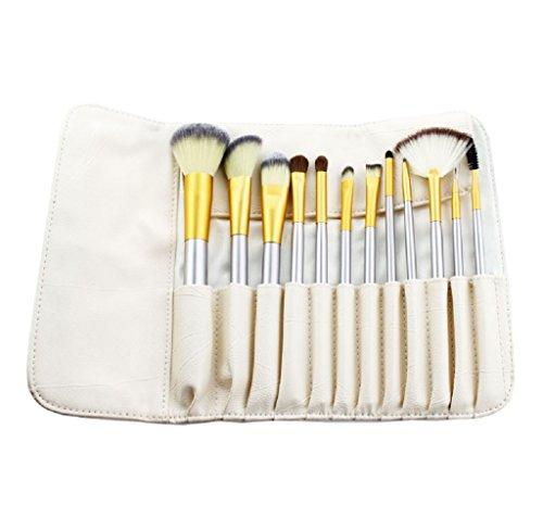 Price comparison product image Rukiwa 12pcs Makeup Brushes set Fondation Cosmetic Tool with Leather