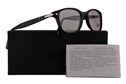 Persol PO3163V Eyeglasses 52-19-145 Shiny Black w/Demo Clear Lens 95 PO3163-V PO 3163-V PO - Persol Frame Clear