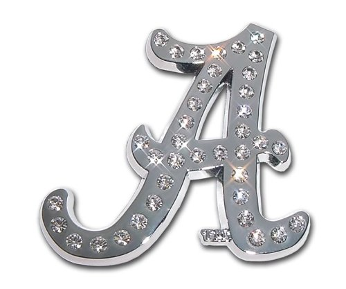 MVP Accessories Alabama Crimson Tide Premium Chrome Metal Auto Emblem with - Alabama Tide Crimson Crystal