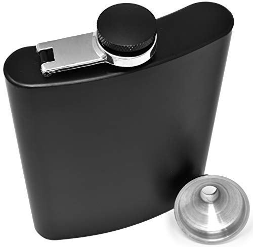 Hip Flask for Liquor Matte Black 8 Ounce Stainless Steel Leakproof with Funnel in Black Box for Men and Women by IDALIO
