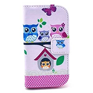 SHOUJIKE Owl Family Pattern PU Leahter Full Body Cover with Stand and Card Slot for Samsung Galaxy Trend Plus S7580/S7562